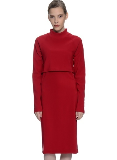 Fashion Uzun Kollu Midi Elbise Kırmızı